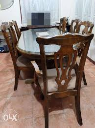 Dining Table With Glass 8 Seater Malaysian Wood
