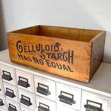 Antiques Gifts RARE 1800s Antique Celluloid Starch Wood Shipping Crate Box Advertising Graphics