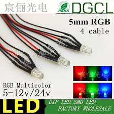 5mm rgb multicolor pre wired dc12v 24v 4 cable dip led green