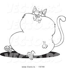Vector Of A Cartoon Sitting Fat Cat