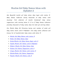PPT Muslim Girl Baby Names Ideas With Alphabet A PowerPoint
