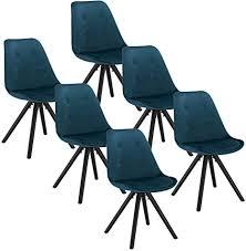 woltu bh196bl 6 6 x esszimmerstühle 6er set esszimmerstuhl sitzfläche aus samt design stuhl küchenstuhl holzgestell blau