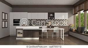 Modern White Kitchen Interior 3d Rendering Stockfoto Und Modern White Kitchen With Island