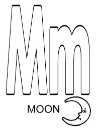 Letter M For Moon Coloring Page