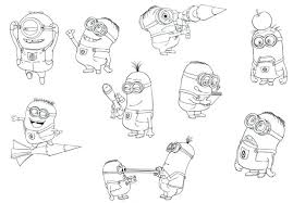 Minions Coloring Pages Pdf Minion Pictures To Print Free Despicable Me Happy Birthday