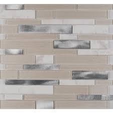 white wave interlocking 12 in x 12 in x 4 mm glass metal