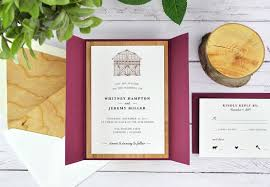 Pictured Invitation On Snow White Mat Envelope Liner In Cherry Wood Gate Card RSVP Burgundy