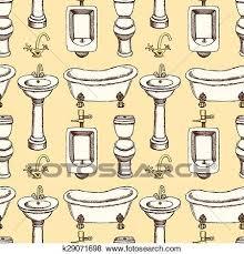 skizze badezimmer und toilette ausrüstung clip