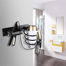 wzoed haartrocknerhalter edelstahl fönhalter föhn halterung in badezimmer hotel baderzimmer wohnzimmer barbershop schwarz