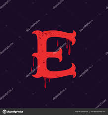 E Letter Logo Vintage Slab Serif Type With Blood Splashes Stock