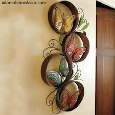Metal Round Butterfly Wall Decor Art Garden Unique Indoor