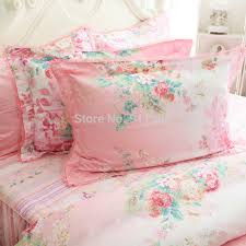 Romantic Pink Rose Print Bedding Sets Elegant Rustic Vintage Floral Princess Comforter Set Korean Falbala Ruffled Bed Skirt In From Home