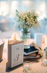 A Vintage Library Themed Wedding With Pretty Blue And Yellow Details Floral Print Shabby Chic Book CenterpiecesVintage