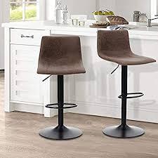 alpha home barhocker höhenverstellbar 360 grad drehbar modern quadratisch pu leder küche theke esszimmerstühle set mit 1 kg kapazität braun
