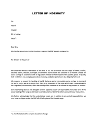 Fillable line LETTER OF INDEMNITY Mediterranean Shipping