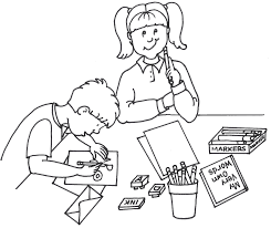 Image of Writing Clipart Black and White Children Writing