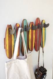 Decorative Surfboard Wall Art by Colorful Wooden Surfboards Coat Rack