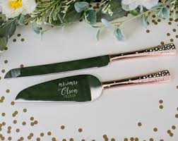 Personalized Galaxy Rose Gold Wedding Cake Knife And Server Set 2 PC Engraved