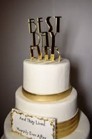 Wedding Cake Topper Art Deco Great Gatsby Style Best Day Ever Gold
