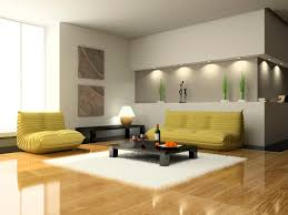 interior can lights living room with yellow upholstery sofa