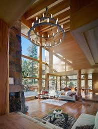 High Ceiling Windows Living Room Rustic With Exposed Beams Glass Coffee Tables