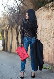 Pretty Piper Gore Lace Top Distressed Jeans And Black Blazer With A Pop Of Red