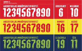 Tipografa Arsenal 2016 num de maillot Pinterest