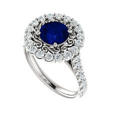 170 Ct 7mm Blue Sapphire Diamond Halo Vintage Style Engagement Ring 14k White Gold 18k Or Platinum Anniversary Rings Etsy