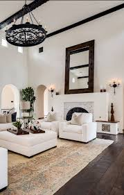 InteriorAmazing Spanish Home With Colonial Style Feat Black Iron Chandelier And White Leather Furniture