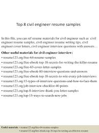 top 8 civil engineer resume sles 1 638 jpg cb 1429928633