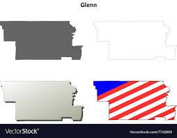 Glenn County California Outline Map Set Vector Image