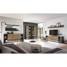 industrial design wohnwand set mit sideboard tirana 61 in fresco grau