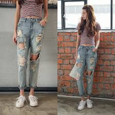 New Women Denim Pant 2018 Mid Waist Hole Ripped Jeans For Loose Blue Woman