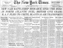 Johnny Horton Sink The Bismarck Year by New Battleship Bismarck Sinks The Hood In North Atlantic Duel