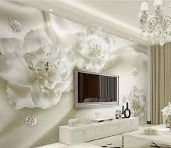 3d tapete elegante weiße große seidenblume tapete wohnzimmer