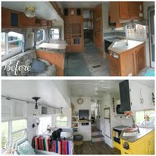 A Before And After Photo Of Camper Renovation The Main Living Space