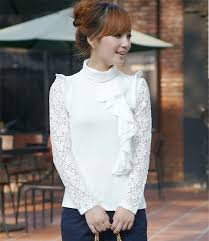 Autumn Clothing Flounced Elegant Ladies Knit Tops Y654 White Larger Image