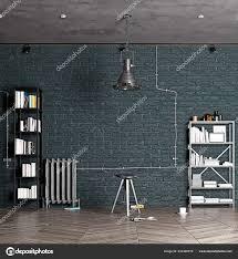 100 Modern Loft Interior Design Rendering Stock Photo