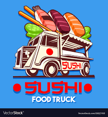 Food Truck Japanese Sushi Sashimi Delivery Vector Image