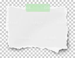 Vector Ragged Fragment Of White Paper On Sticky Adhesive Tape Placed Transparent Checkered Background Royalty