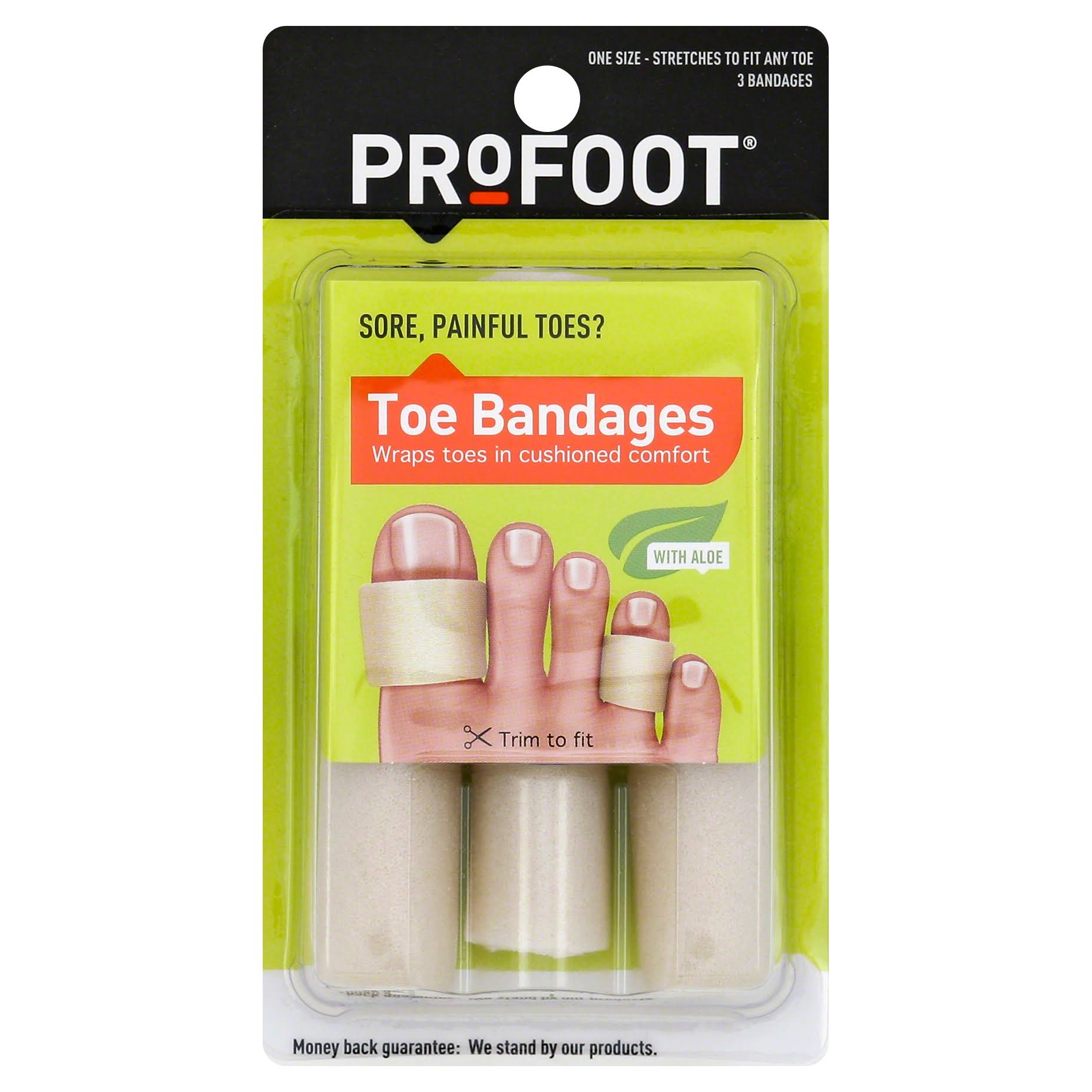 Profoot Toe Bandages, with Aloe, One Size - 3 bandages