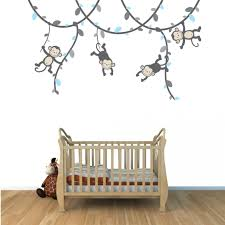 Wall Mural Decals Nursery by Blue And Gray Vines With Monkey Wall Decals For Nursery Or Baby Room