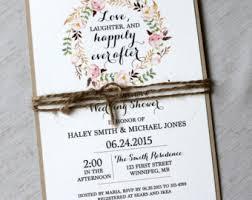 Rustic Bridal Shower Invitations Floral Invites Wedding Invitation Brunch