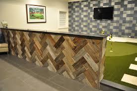Reclaimed Wood Herringbone Accent Half Wall