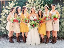 Rustic Bride Dresses And Boots Bridesmaids