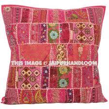 24 x 24 Pink Throw Sofa Pillows Indian Patchwork Floor Cushions Pouffe