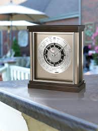 Bulova Table Clocks Wood by Bulova Mantel Clock World Time Dial Brushed Steel Accents
