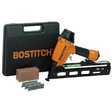 Bostitch Floor Nailer Home Depot by Bostitch 15 Gauge Oil Free Angled Finish Nailer Kit The Home