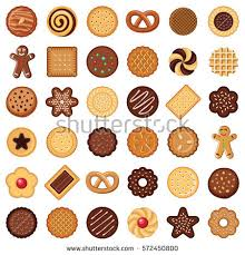 Cookie and biscuit icon collection vector color illustration