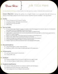 Resume For A Teacher Free Letter Templates Online